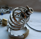 "THE MILKER™BI-POLAR RINGED HELL E-STIM CHASTITY CAGE 3"" cage"