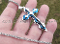 Cross Charm Stainless Steel and Blue Pendant Necklace