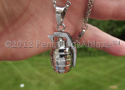 SOLID STAINLESS STEEL GRENADE PENDANT + NECKLACE