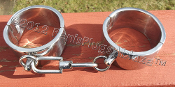 SOLID STAINLESS WRIST OR ANKLE SHACKLE CUFFS WITH CENTER SWIVEL