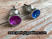 HIGH POLISHED ALLOY BUTT PLUG PUSSY PLUG RANDOM COLOR END